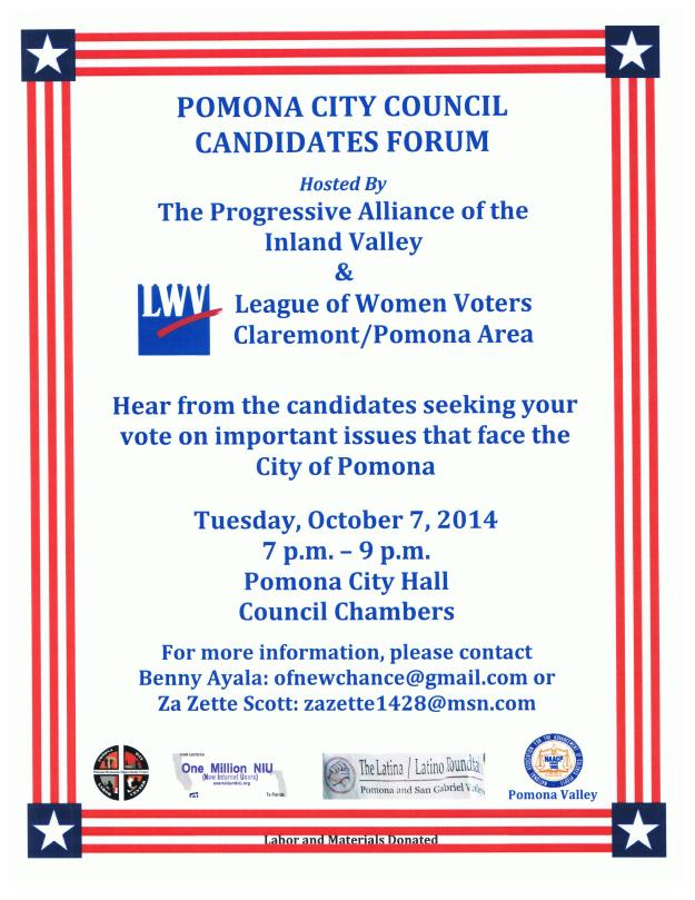 Pomona Candidates Forum Oct6th Eng