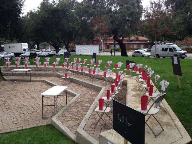 University of LaVerne classroom chairs memorial depicting 43