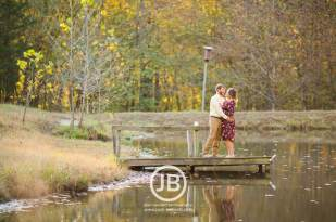 Country Fall Engagement Photo By Pond