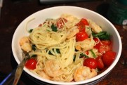 Angel Hair Pasta with spinach, tomatoes and prawns