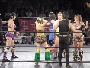 An Chamu, Hagane Shinnou, and Makoto vs. Antonio Honda, SAKI, and Sayaka Obihiro