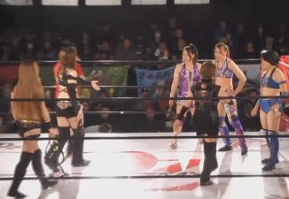 Ayame Sasamura, Rina Shingaki, and Syuri vs. Ozaki-gun