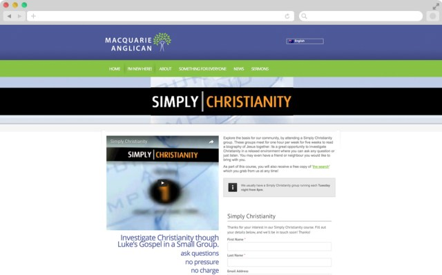 Screen shot of the simply Christianity page. There is a video in the top left hand side, with some text below it, and on the right hand side, there is a form.