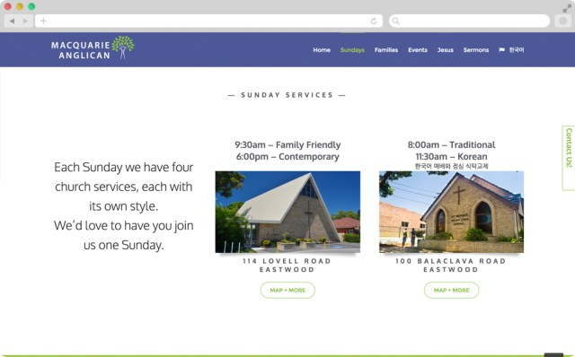 Screen shot of the site, we see two big images of the exterior of the buildings, along with their service times.