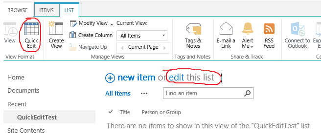 SharePoint: Quick Edit with People Picker field – The user