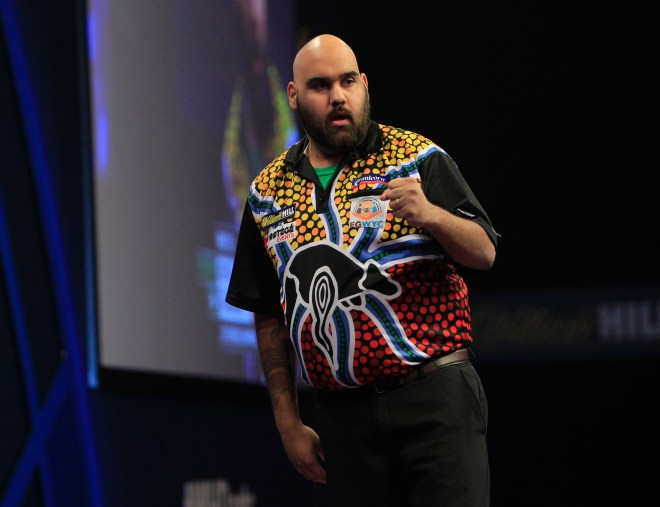 WILLIAM HILL WORLD DARTS CHAMPIONSHIP 2015 PIC;LAWRENCE LUSTIG ROUND 1 KYLE ANDERSON V STEVE BEATON KYLE ANDERSON IN ACTION