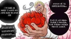 Doflamingo baiting the Mera Mera Fruit for his evil plan against the Strawhat Pirates