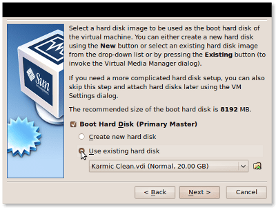 VirtualBox Hard Disk Setup screenshot