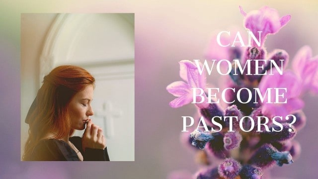 A woman pastor in a black suit  prayering in the church