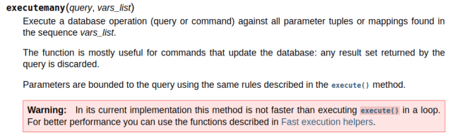 screen shot of information from programming documentation