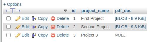 phpMyAdmin table data
