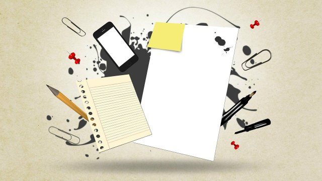 compilation of various learning tools like pencil, paper, sticky notes and cell phones