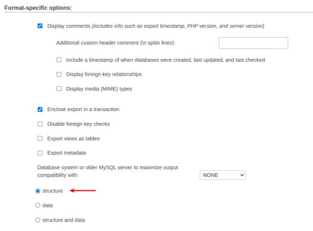iphpMyAdmin-format-specific-options