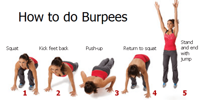 Burpees — Close Grip Bench Press Alternative