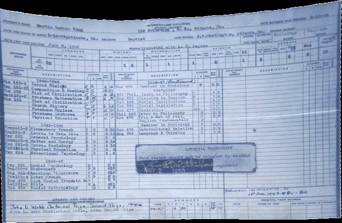Martin Luther King, Jr's college grades