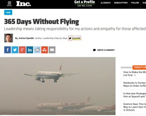 365 Days Without Flying Joshua Spodek Inc. artilce