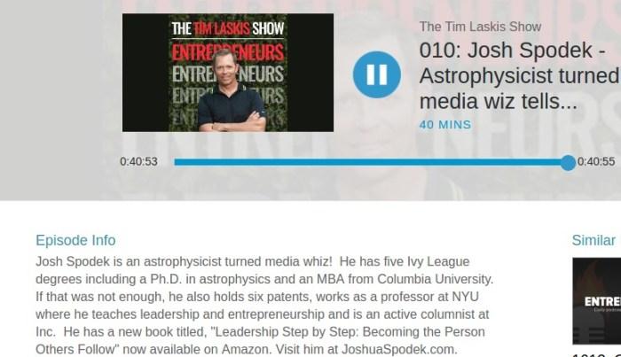 Tim Laskis interviewing Joshua Spodek