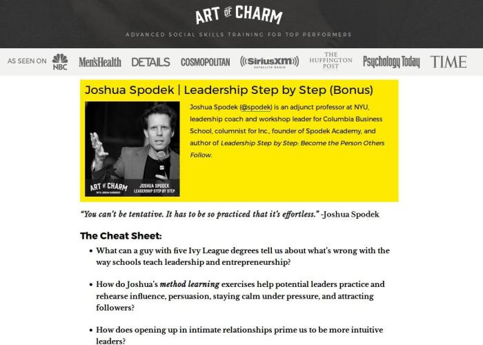 The Art Of Charm Joshua Spodek interview