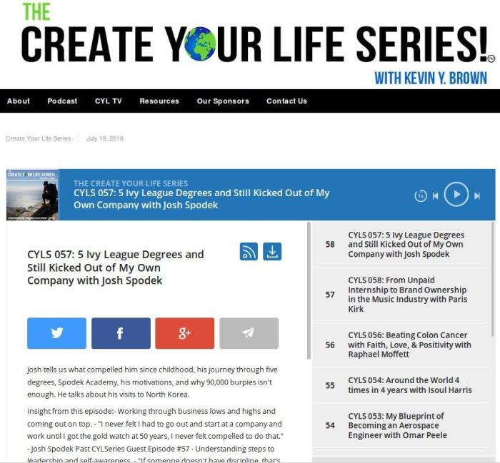 The Create Your LIfe interview with Kevin Brown and Joshua Spodek