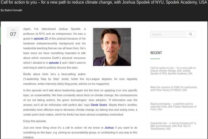Balinth Harvath's podcast Call for action to you – for a new path to reduce climate change with Joshua Spodek