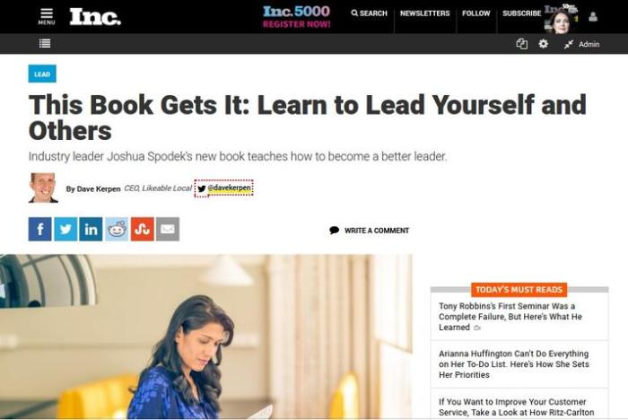 Dave Kerpen's Review of Leadership Step by Step on Inc.