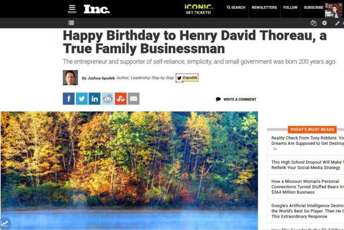 My Inc.com article on Henry David Thoreau's 200th birthday