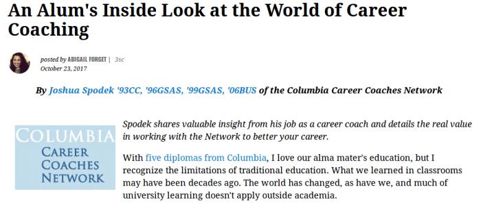 Columbia Alumni Association post by Joshua Spodek