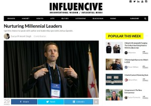 """Influencive's Surya Prakash Singh's interview, """"Nurturing Millennial Leaders"""""""