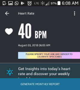 Joshua Spodek's resting pulse: 40 beats per minute