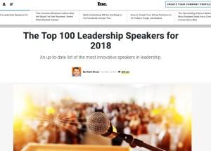 Kevin Kruse's annual top 100 leadership speakers in Inc