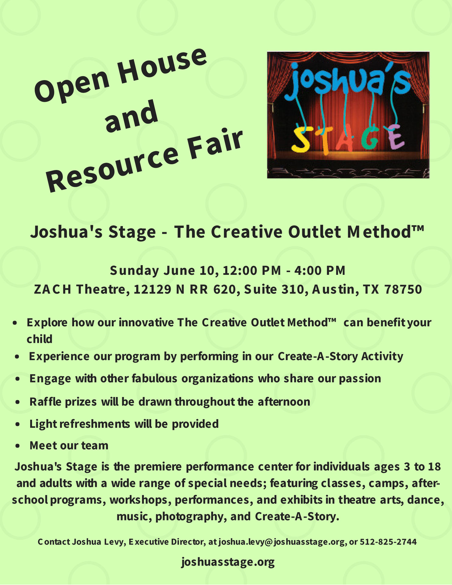 Open House and Resource Fair: Sunday June 10, 12:00 pm - 4:00 pm