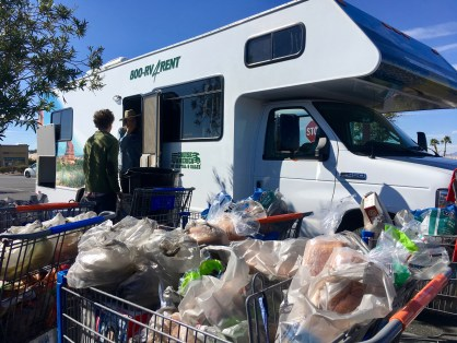 We filled seven Wal-Mart carts, then a rental RV and a camper-trailer, with supplies and equipment (Jeremy Yoder)