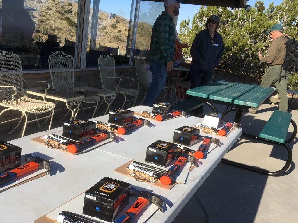 Kits of equipment for surveying, assembled for the leadership training. (Photo by Jeremy Yoder)