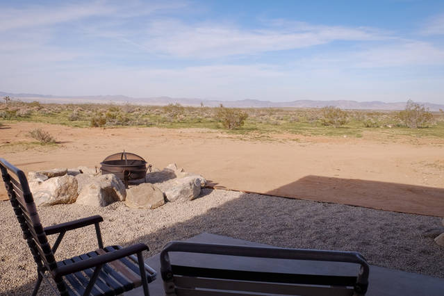 infinity view of the desert from patio