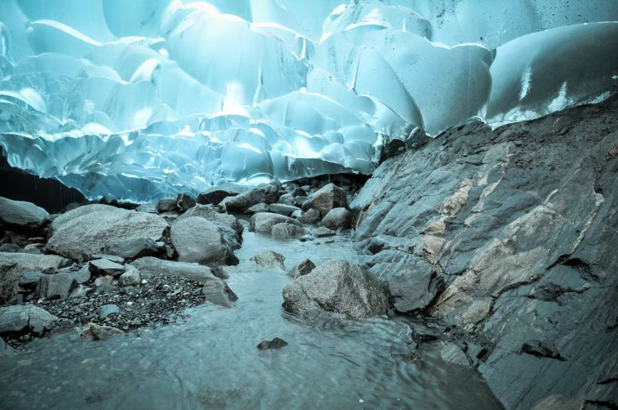 Stream Under The Medenhall Glacier In Alaska-13