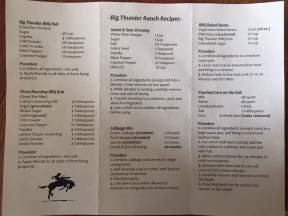 Big Thunder Ranch BBQ Menu Recipes
