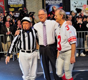 Regis Philbin, Dave Letterman and Bill Murray were part of the team kicking field goals on New York's 53rd Street during the Tuesday Jan. 31, 2012 taping of the Late Show with David Letterman on the CBS Television Network. This photo is provided by CBS from the Late Show with David Letterman photo archive. Photo: John Paul Filo/CBS ©2012 CBS Broadcasting Inc. All Rights Reserved