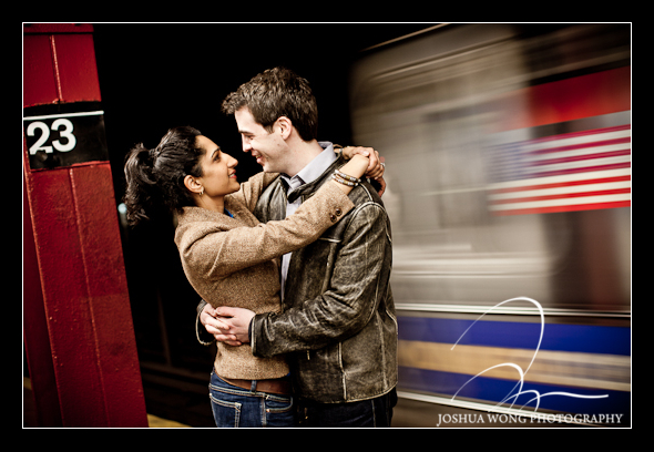 New York City Subway engagement photo shoot.  Engagement Pictures by Josh Wong Photography