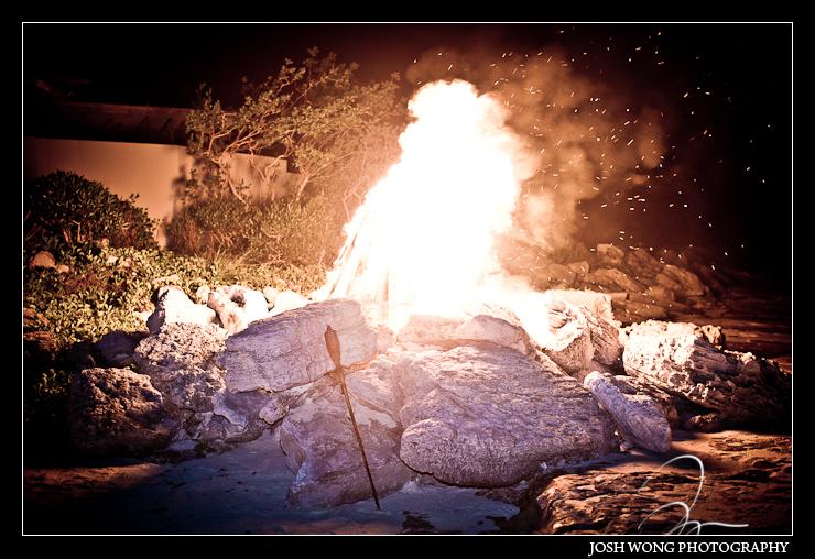 Bonfire at the Amanyara.