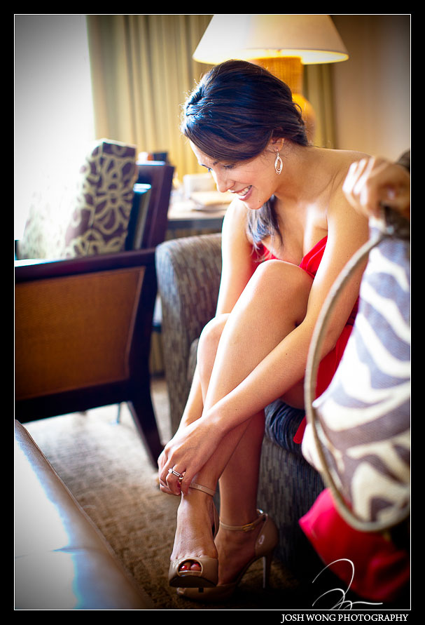 A bridesmaid getting ready at Fairmont Kea Lani Hotel in Maui Hawaii - Jenn & Stephen - Wedding Pictures by Destination Wedding Photographer Josh Wong Photography,