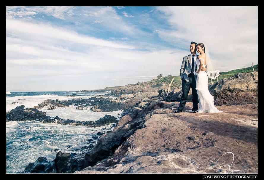 Bride and Groom Bridal Portraits at Ho'okipa Beach Park Destination Wedding, Maui Hawaii - Wedding Pictures by Destination Wedding Photographer Josh Wong Photography