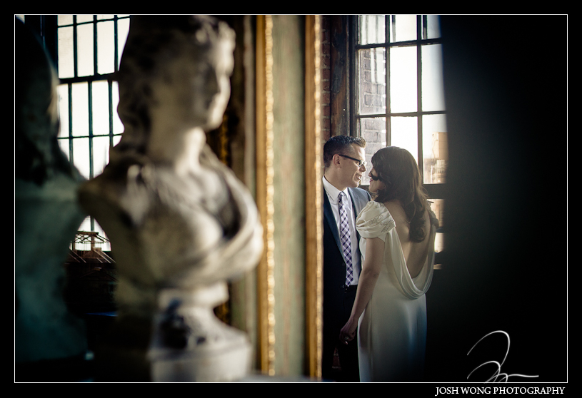 The bride and groom enjoy a private moment together while waiting for their guest to arrive before the wedding. Metropolitan Building, Long Island City