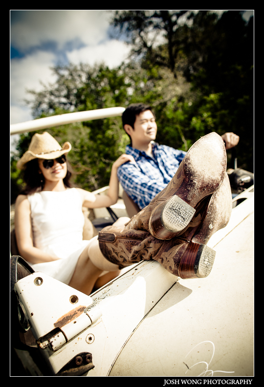 A casual off roading adventure for this couple in San Antonio, TX. Engagement Pictures - The Missions, The River Walk, The Alamo, Ranches, Blue Bonnets, and BBQs Galore - engagement photos by Josh Wong Photography