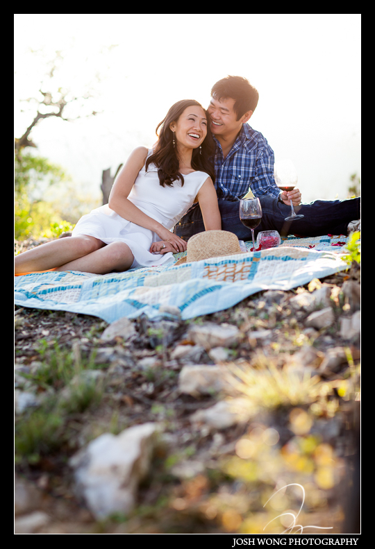 Enjoying a little picnic as the sun was setting in San Antonio, TX. Engagement Pictures - The Missions, The River Walk, The Alamo, Ranches, Blue Bonnets, and BBQs Galore - engagement photos by Josh Wong Photography