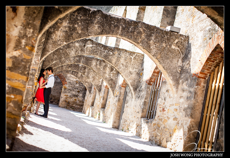 San Antonio, TX. Engagement Pictures - The Missions, The River Walk, The Alamo, Ranches, Blue Bonnets, and BBQs Galore - engagement photos by Josh Wong Photography