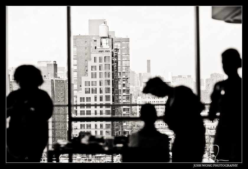 City view from the Rivington Hotel in the Lower East Side New York City. Wedding pictures by NYC wedding photographer Josh Wong Photography