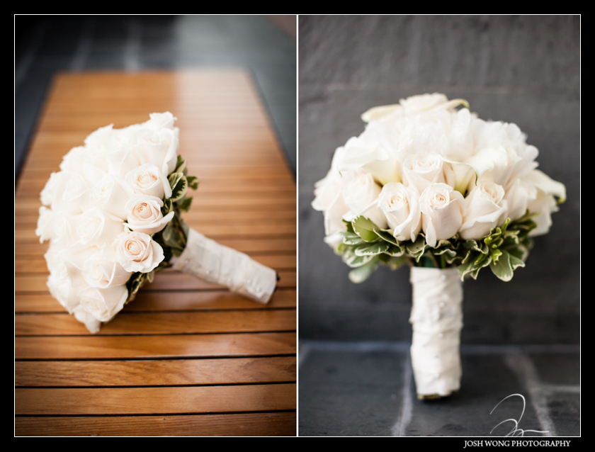 The wedding bouquet. The bride getting dressed. Wedding pictures by Josh Wong Photography