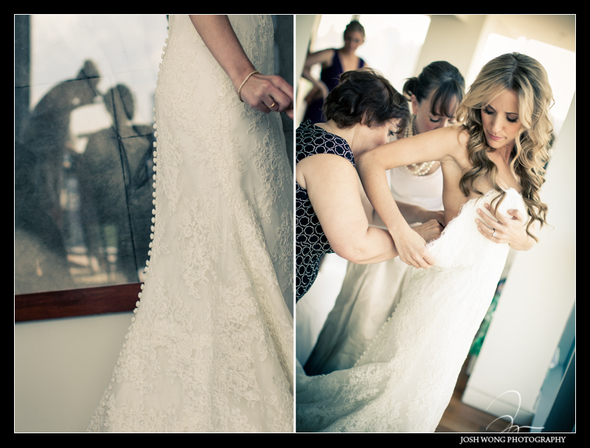 The bride getting dressed.  The Bride is wearing a Anne Barge Wedding Dress. Wedding pictures by Josh Wong Photography