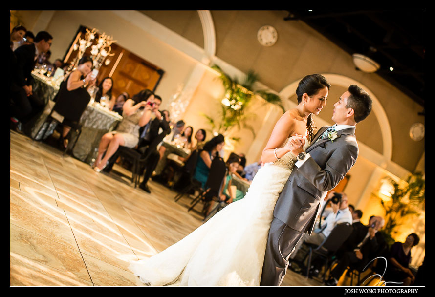 The first dance at Casa Real - A magnificent wedding at Casa Real at Ruby Hill Winery, Pleasanton, Ca. Wedding pictures by San Francisco wedding photographer Josh Wong Photography