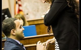 Anthony's surprise wedding and engagement proposal to Christina in a Mock Courtroom Trial